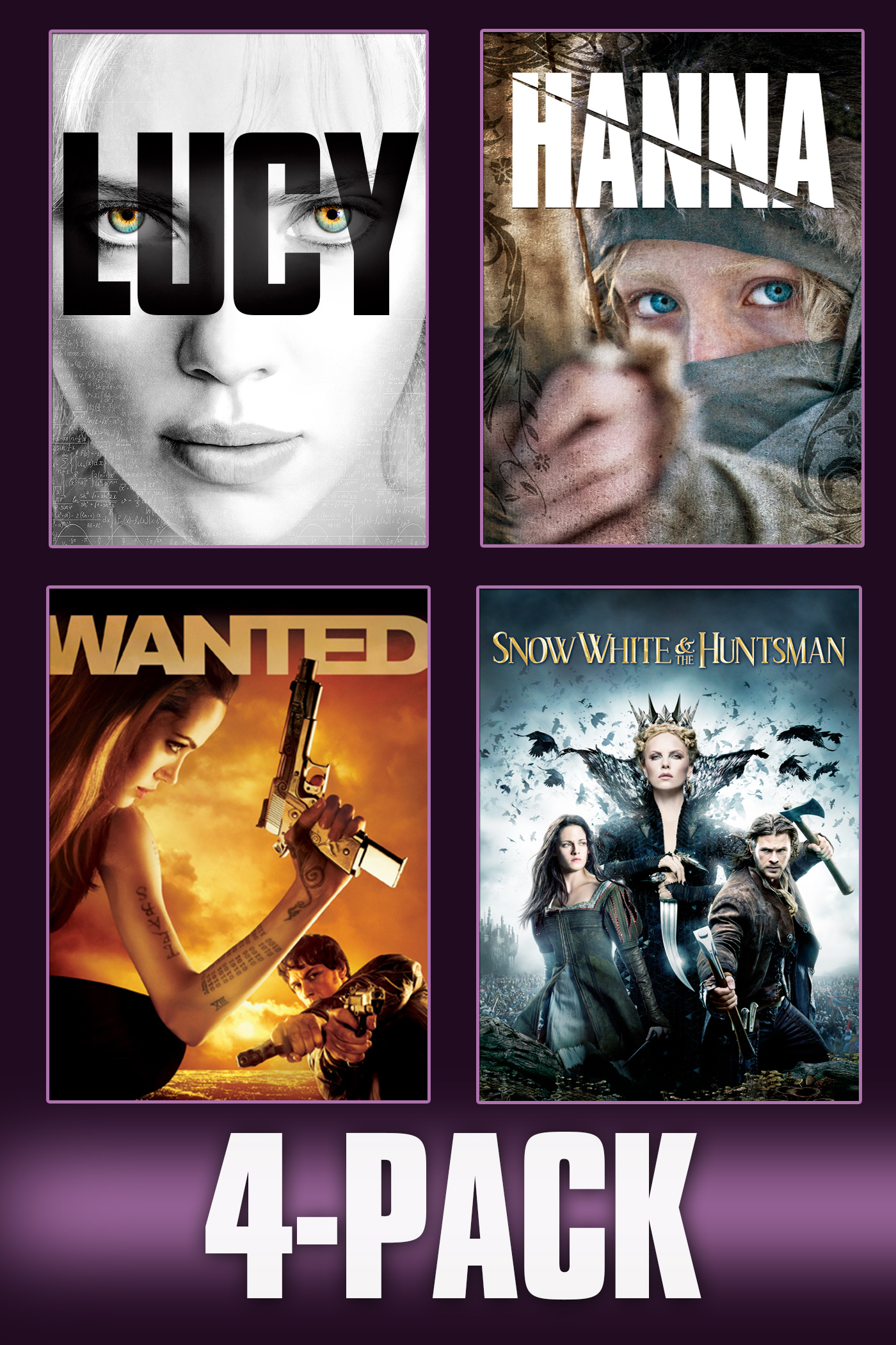 Lucy, Hanna, Wanted, & Snow White and the Huntsman 4-Pack